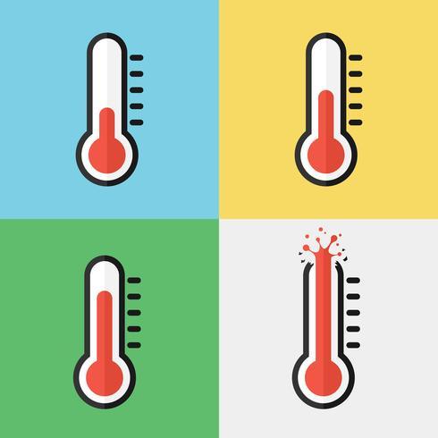 Bruten termometer (överhettning) (platt design) vektor