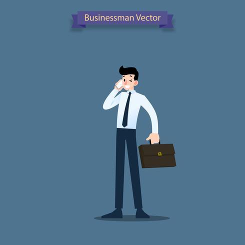 Geschäftsmann, der auf dem Mobiltelefon zum Kunden spricht, sich berät und Aktenkoffer hält. vektor