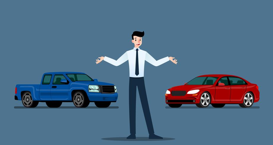 En glad affärsman, säljare står och presenterar sin lyxbil och pickup truck som parkerade i show room.Vector illustration design. vektor