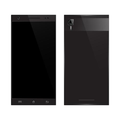 Schwarze Smartphone-Vorder-, Rückansicht vektor