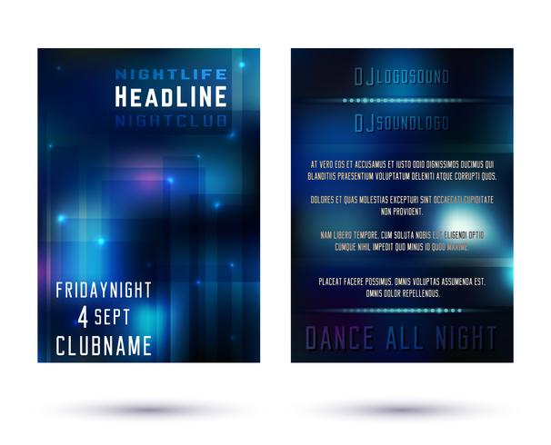 Nattklubbens broschyrmall vektor
