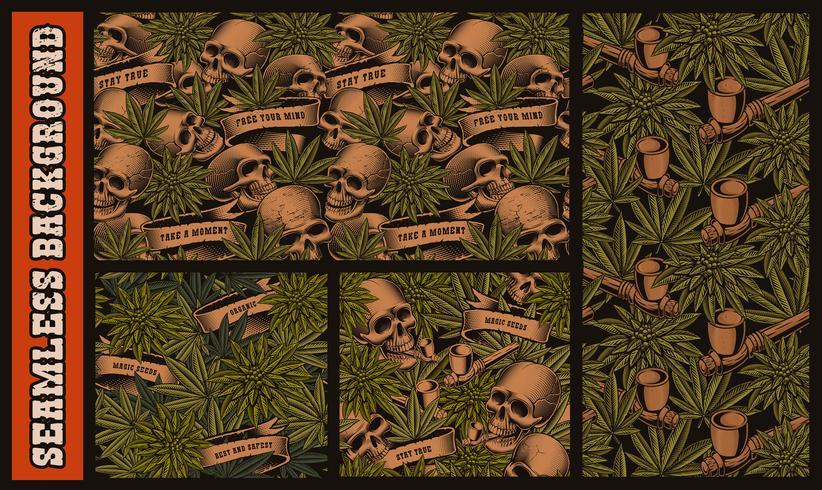 Set med sömlösa mönster med skalle och cannabis vektor