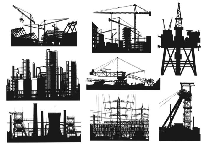 städtischer Bau-Vektor-Pack vektor