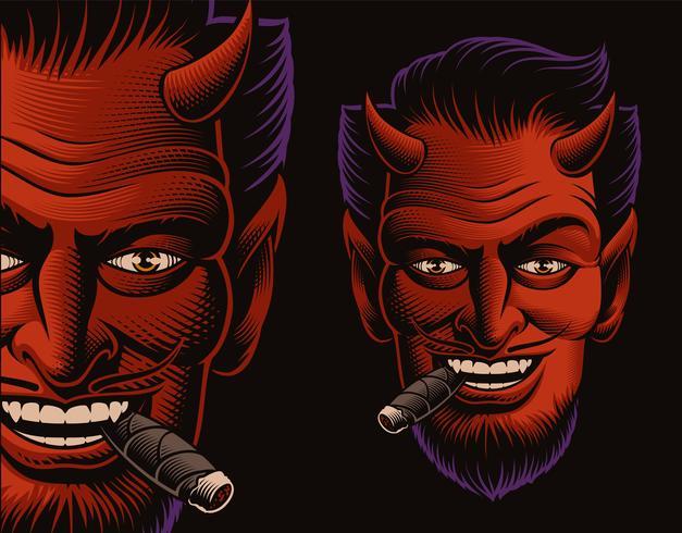 Färgad vektor illustration av en djävul ansikte röker en cigarr