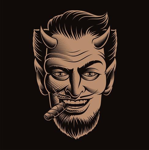 Vektor illustration av en djävul ansikte röker en cigarr