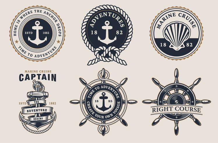 Set av marin märken på den ljusa bakgrunden vektor