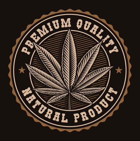 Vintage emblem av cannabisblad. vektor