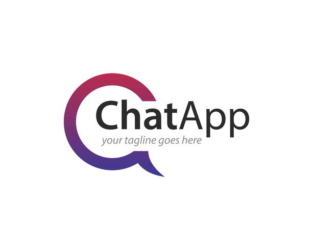 chat app logo ikon vektor