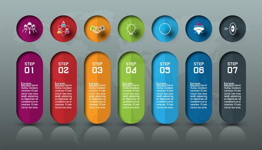 Sju färgglada barer med företagsikoninfographics. vektor