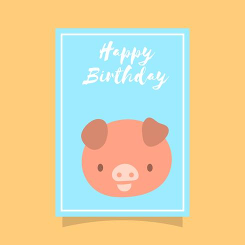Flache nette Schwein-alles- Gute zum Geburtstagtiergruß-Vektor-Schablone vektor