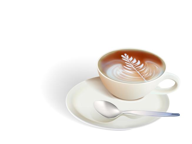 Schalenkaffee und -samen auf weißem Hintergrund vektor