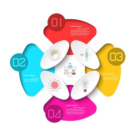 Geschäft Infografik mit 4 Schritten. vektor