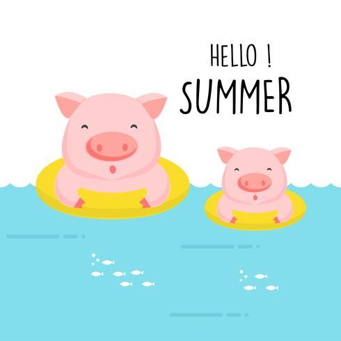Hallo niedlicher Schweinkarikatur des Sommers. vektor