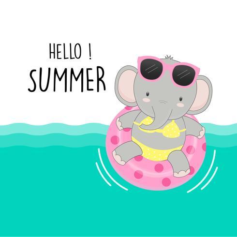 Hallo Sommer süße Schwein waren Bikini und Schwimmring Cartoon. vektor