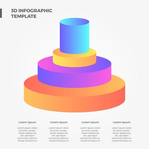 Flat 3D Bar Infographic Vector Element