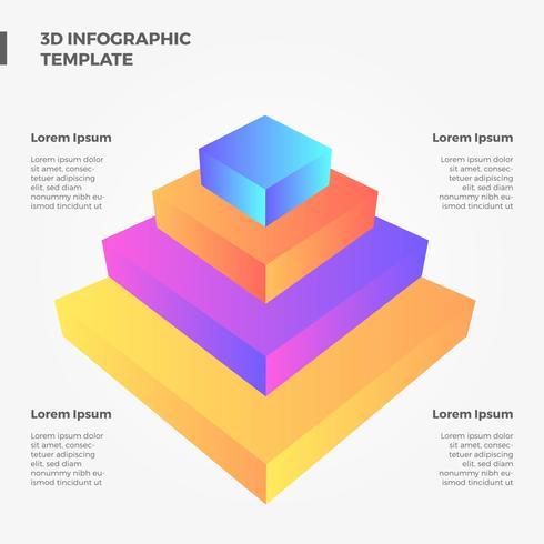 Flache 3D Pyramide Infographik Vektor
