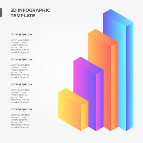 platt 3d infographic bar vektor samling
