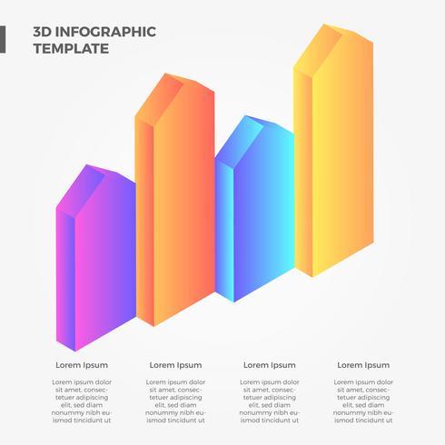 platt 3d pil bar infographic vektor samling