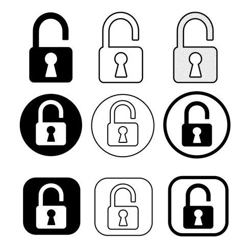 Set med symbol för enkel skyltlås vektor