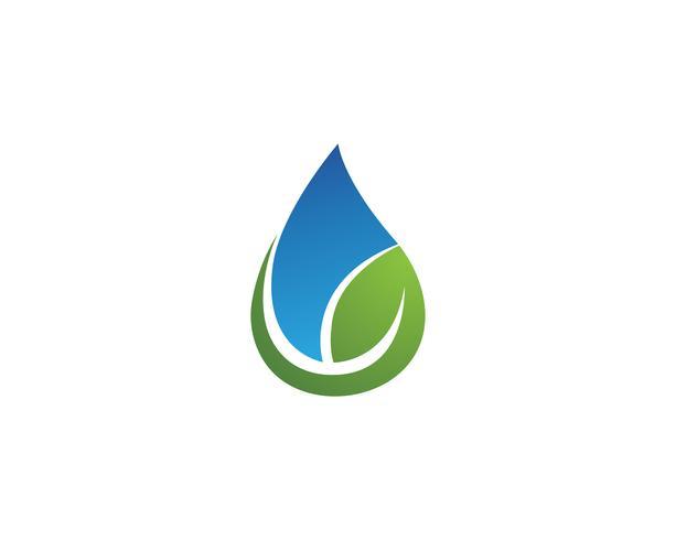 Wassertropfen und Blatt Logo Template-Vektorillustration vektor