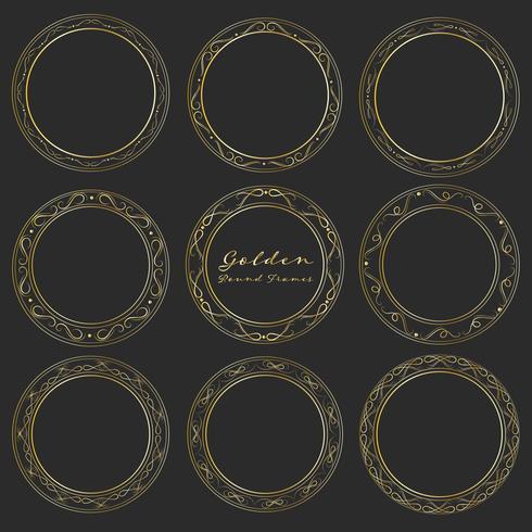Satz goldene runde Rahmen für Dekoration, dekorative runde Rahmen. Vektor-illustration vektor