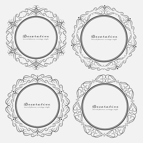 Satz dekorative runde Rahmenweinleseart. Vektor-illustration vektor