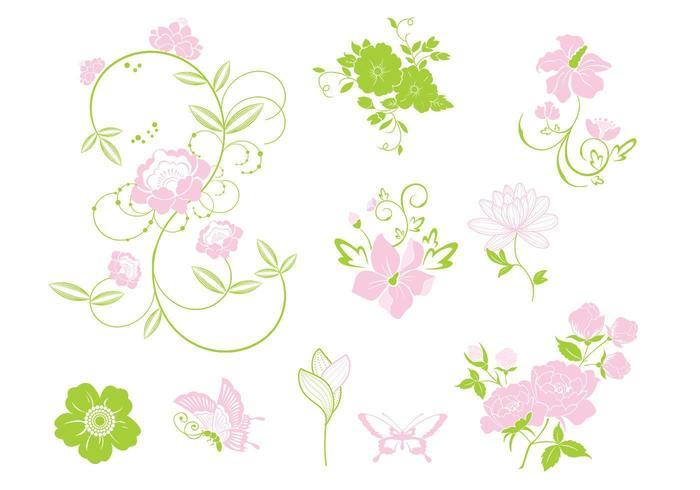 Rosa och grönt blommigt vektorpaket vektor