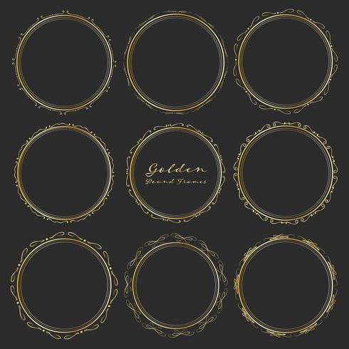 Sats med gyllene runda ramar för dekoration, Dekorativa runda ramar. Vektor illustration.
