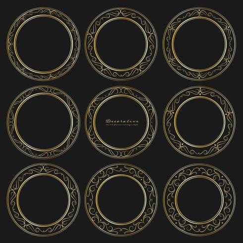 Set med gyllene dekorativa runda ramar vintage stil. Vektor illustration.