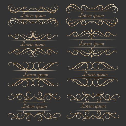 Set av lyxiga dekorativa kalligrafiska element för dekoration. vektor