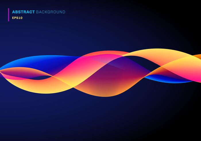 Abstrakte Flüssigkeit mit dynamischen Effektlinien bewegt vibrierende Farbe auf dunkelblauem Hintergrund wellenartig. Futuristischer Technologiestil vektor