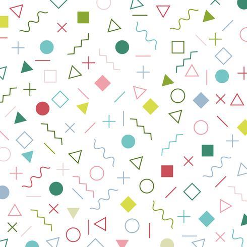 Färgglada geometriska element memphis stilmönster 80-talets 90-åriga bakgrund. vektor