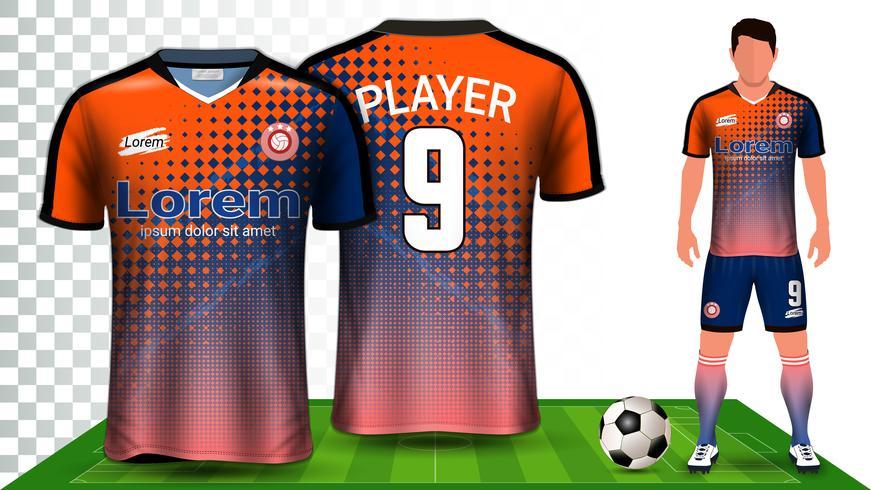 Fotbollströja, Sportskjorta eller Fotbollssats Uniform Presentation Mockup Mall. vektor