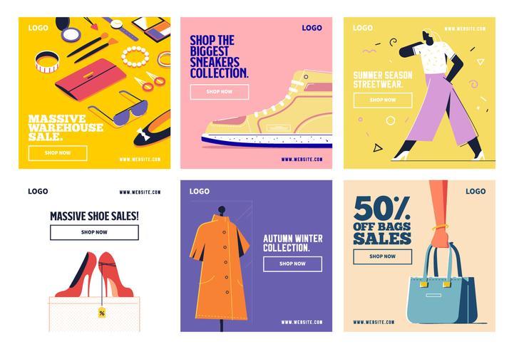 Mode shopping social media post samling mall vektor