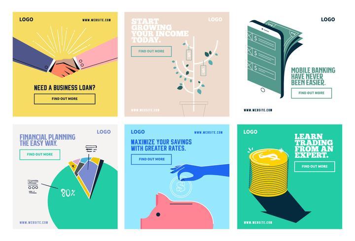 Finansiell investering social media post samling mall vektor