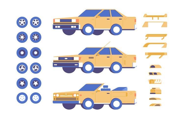 Auto Fahrzeugteile Anpassung mod Illustrationssatz vektor