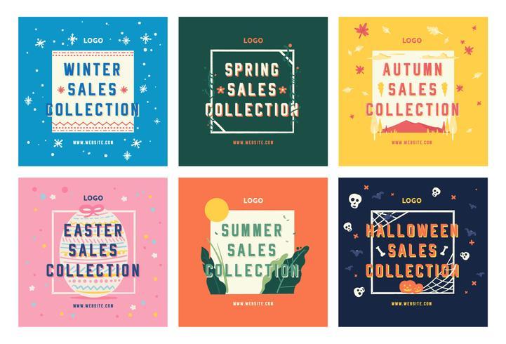 Mode säsong försäljning shopping sociala medier post samling mall vektor