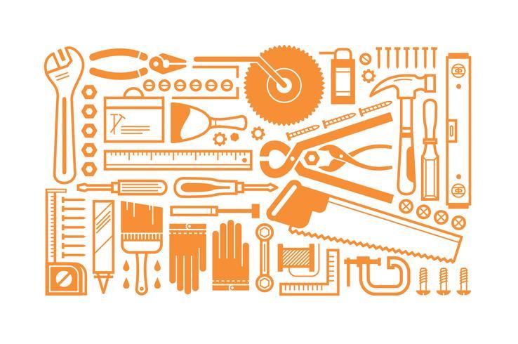 Flat konstruktion verktyg uppsättning bunt vektor