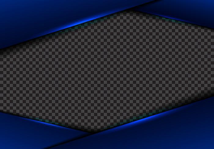 Abstrakt mall blå ramlayout metalliskt blått neonljus på transparent bakgrund. modernt lyx futuristiskt teknikkoncept. vektor