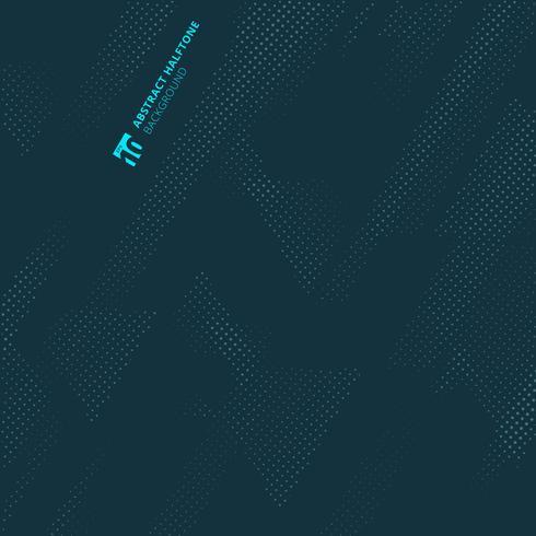 Geometrische Dreiecke der abstrakten Punktmusterhalbtontechnologie auf dunkelblauem Hintergrund und Beschaffenheit. vektor