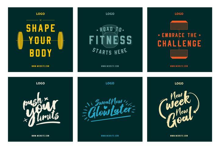Fitness gym citat motivation social media post samling mall vektor