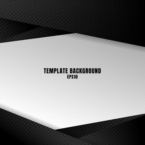 Mall svart och vit geometrisk bakgrund med halvtonstextur. Du kan använda för designutskrift, broschyr, affisch, banner, hemsida, presentation. vektor