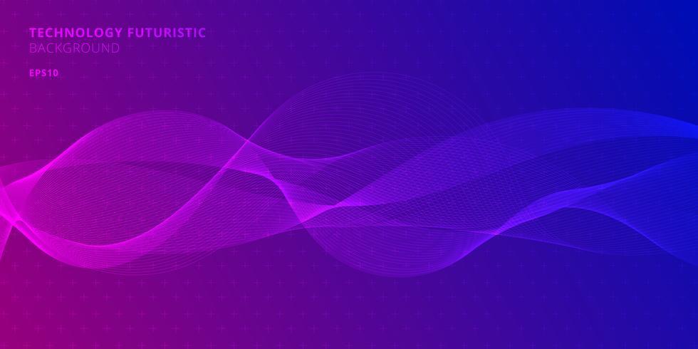 Abstrakte Linien Wellen auf purpurrotem und blauem Farbhintergrund für Gestaltungselemente in der futuristischen Art der Technologie. vektor