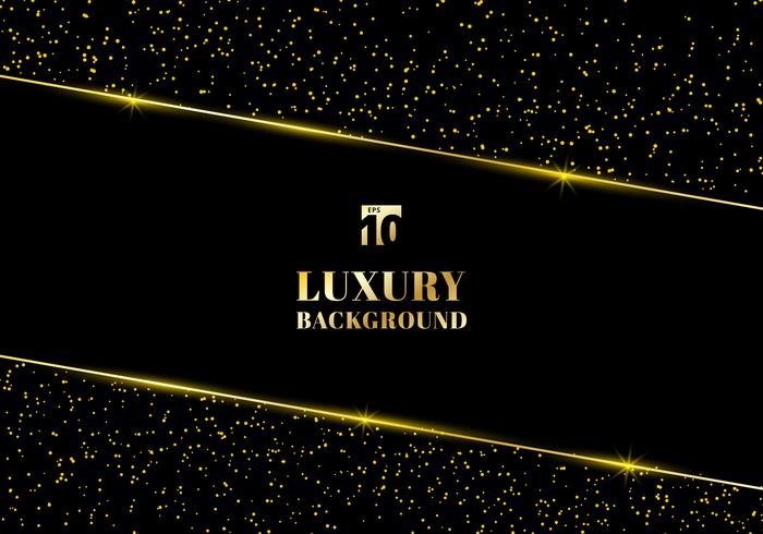 Abstrakt guldglitter och blank guldram på svart bakgrund. Lyxig elegant trendig stil. Du kan använda till bröllop Inbjudningskort, förpackning, banner, kort, flygblad, inbjudan, fest, tryck reklam. etc. vektor