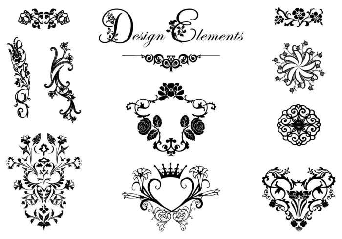 Floral Design Prydnad Vector Pack