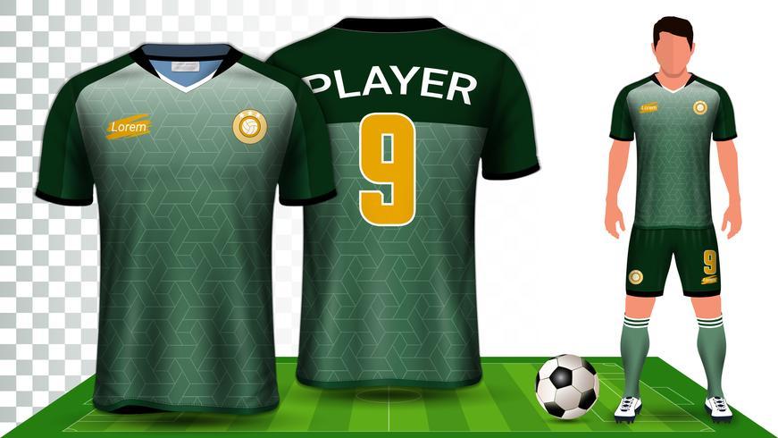 Vorlage für Fußball-Trikot- und Fußball-Ausrüstungspräsentation, Vorder- und Rückansicht, einschließlich Sportkleidung. vektor