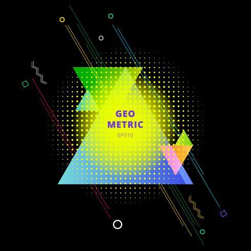 Sammanfattning färgglada geometriska trianglar komposition med element halvton på svart bakgrund. vektor