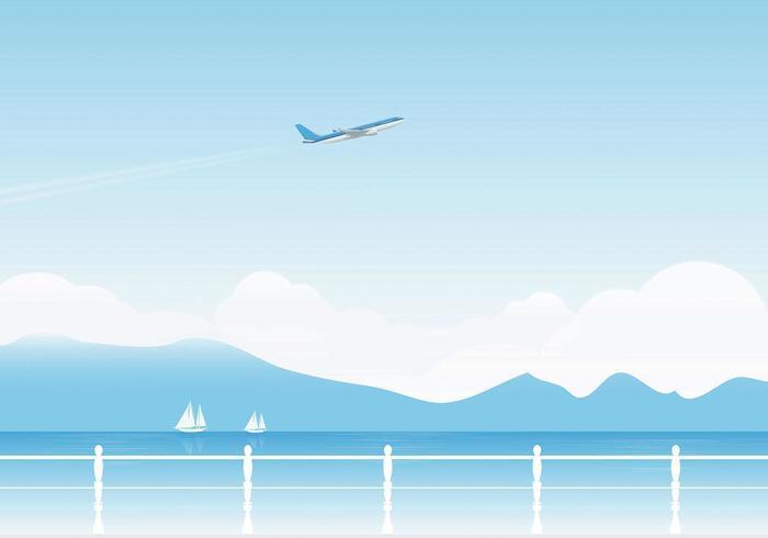 Flygplan och sjövektor Bakgrund vektor