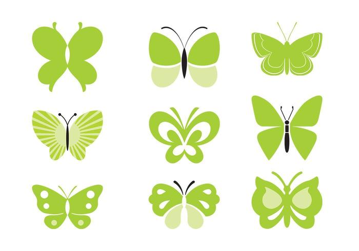 grön fjäril vektor pack
