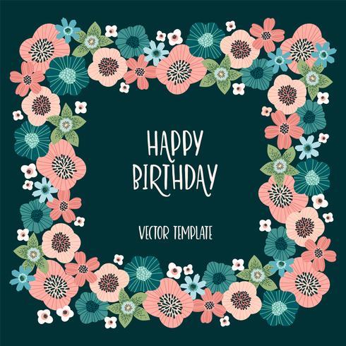 Vektorblumenmuster mit netten Blumen. Vorlage für Karte, Plakat, Flyer, home d cor vektor